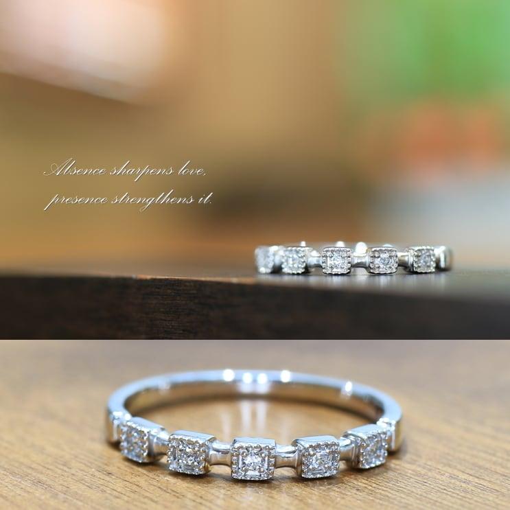 プラチナ Pt900 ダイヤモンド リング 0.04ct ミル打ち 重ね付け 指輪 天然ダイヤモンド 日本製【レディース】【プレゼント】【ギフト】 【ダイヤモンド】