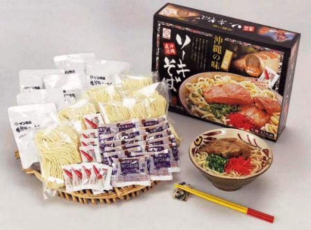 ソーキそば 12人前 生めん(味付ソーキ肉・濃縮スープ・島唐辛子付き)|沖縄そば サン食品|