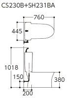 TOTOトイレピュアレストQR便器【CS230B】タンク【SH231BA】床排水排水心:200mm一般地用【RCP】
