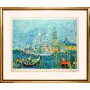 アイズピリ「白い船」リトグラフ 額付き 作家直筆サインあり 風景画 ベニス イタリアの古都 運河 カナル・グランデ ゴンドラ 青い風景
