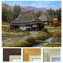 猿渡一根 「晩秋 京都美山・II」 F6号 油彩画 真筆 額入り 油絵 風景画 インテリア 肉筆画 伝統的な家 かやぶき屋根 古民家 日本のふるさと
