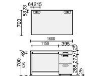 コクヨ/BS型+デスクシステム片袖机/SD-BSN167LV3F11