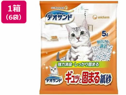 ユニ・チャームペットケア/デオサンドギュッと固まる紙砂5L×6袋