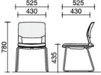 コクヨ/会議用イス160サークル脚背カバーデープマリン