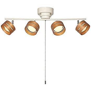 【中古】ヤザワ LEDスポットシーリングライト 4灯 電球色相当 スイッチ:ひも式 木目:ライトブラウン バー:ホワイト Y07CEL40L01WH