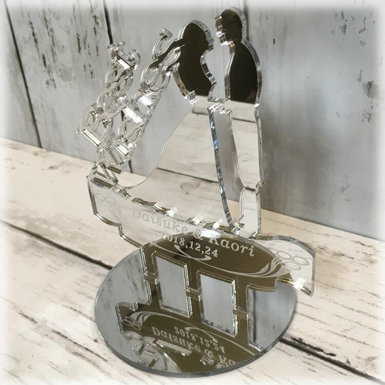 """【送料無料】【名入れ彫刻】☆スタンドタイプ☆Bride & Groom """"Best Wishes""""ミラータイプ新郎新婦モチーフウエディングケーキトッパー/アクリルケーキトッパー/ウエディングケーキ用飾り/Wedding Cake Toppers"""
