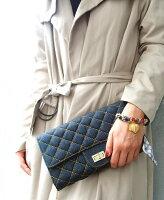 送料無料♪【キルティングウォレットチェーンバッグ】デニム地がお洒落なチェーンバッグ☆パスポートやスマホも入る!収納と機能を兼ね備えたウォレットバッグ。レディースバッグ