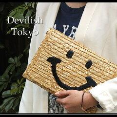 ご予約開始!【スマイルストロークラッチバッグ】(メール便不可)遊び心あるニコちゃん刺繍が可愛いかごクラッチ。2WAYでショルダーバッグにも♪レディースクラッチバッグ