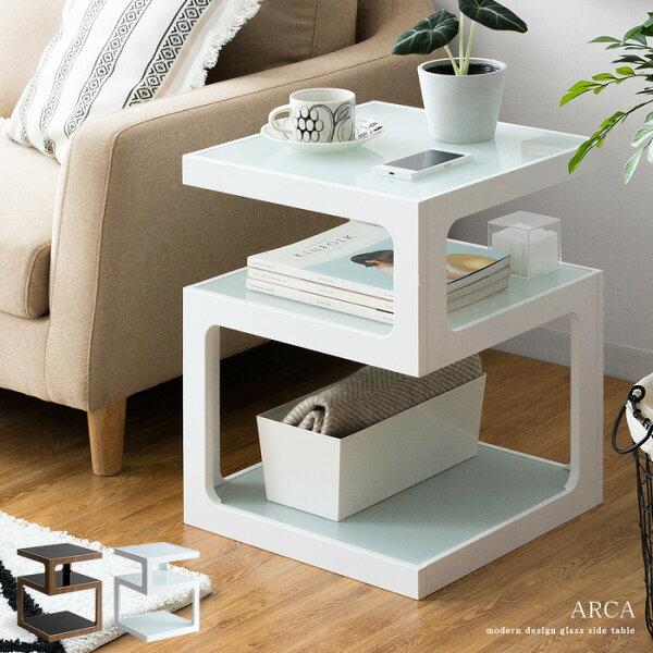 サイドテーブルおしゃれ北欧ソファーサイドテーブルベッドサイドテーブルガラス収納ナイトテーブルシンプルモダン白ホワイトブラウンリビ