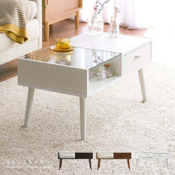 テーブル ローテーブル ガラステーブル センターテーブル 北欧 リビングテーブル 収納 引き出し 白 ホワイト モダン かわいい 一人暮らし おしゃれ カフェ ミッドセンチュリー テーブル ORLEANS 〔オリンズ〕