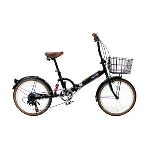 TOP ONE(トップワン):20インチ折畳み自転車 シマノ外装6段ギア・リアサスペンション・前カゴ・カギ・ライト付 ブラック FS206LL-37-BK 【ポイント10倍】カゴ・カギ・ライトのオールインワン+サスペンションのフル装備 4540294014155