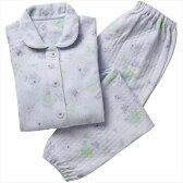 ケアファッション:裏綿100%キルトパジャマ パープル M 38541-71