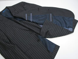 超美品【ランバンオンブルーLANVINonBlue】2つボタンストライプ柄モヘヤ混スーツ(メンズ)size48グレー116112◎3MS3584◎【中古】