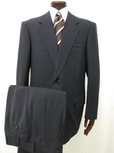 【テーラーワタナベ WATANABE】 William Halstead生地使用♪ 2つボタン シングル スーツ (メンズ) 濃いめのネイビー ●7MS4925● 【中古】