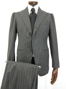 Super160's 【シャマット Sciamat】 CHEQUERS生地 カシミヤ&ミンク混 3ボタン スーツ (メンズ) 44 チャコールグレー 雨降り袖 ●3HR737【中古】