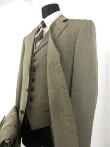 【チャップス CHAPS】ラルフローレン シングル3つボタン 3ピース スーツ (メンズ) sizeA5 ヘリンボーン柄 カーキ系 ■11MS6726■【中古】