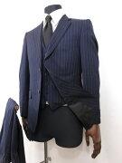 【銀座グローバルスタイル GINZA Global Style】 シングル2ボタン 3ピーススーツ (メンズ) ネイビー ストライプ柄 ○7RMS0151○【中古】