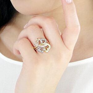 Pt900/K18YG/PGスリーカラーダイヤモンドリング
