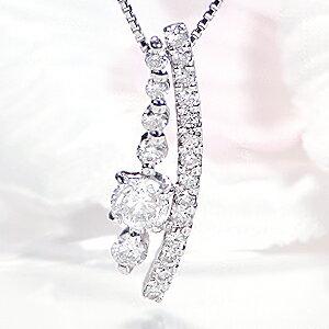 K18WG【0.48ct】ダイヤモンドネックレス