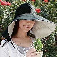 ◆UVカット率約99%!肩までスッポリのかぶるだけのビッグな日よけ?ツバ広日傘帽子 [コジット]