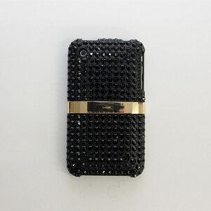 《ゴールドプレート iPhone3G(S)用ゴールドエディション》約300個のスワロフスキーが光る金帯の...