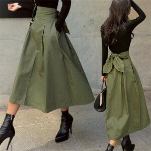 今季トレンド❤バックリボンがキュートなトレンチスカート❤韓国ファッション  春夏 リボンベルト ひざ丈 ロング丈