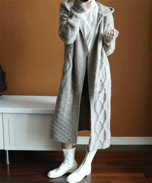 カーディガン ニット フード付き 無地 韓国ファッション アウター 女性らしいデザインのロングカーディガン カーディガン