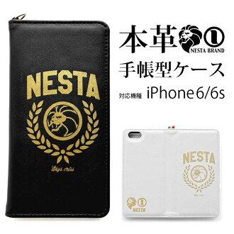 iPhone6s 案例 iPhone6 盒蓋 iPhone 案例 iPhone 案例街頭品牌內斯塔 (NESTA) 豪華皮革帶召集人黑白色牛皮 smahocase 手機皮套