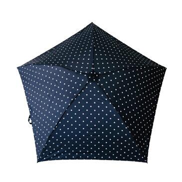 超軽量 折りたたみ 傘 折りたたみ傘 レディース メンズ メンズ傘 雨傘 日傘 傘 軽量傘 晴雨兼用 UVカット おしゃれ 60cm キウ エアライト ラージ ネイビー ドット 135WP016-K48019