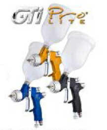 【GTi-Pro-LITE シリーズ】1.3口径 クリヤコート用Devilbiss デビルビスジーティーアイ・プロ・ライト LVMP仕様センターカップ仕様カップ付きGTi PRO LITEノズル1.3口径低圧エアー スプレーガン:Colorbucks カラーバックス