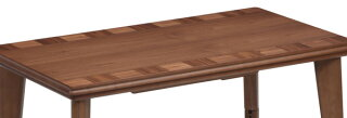 家具調こたつハイタイプ継脚式ウォールナットブロック幅105cm