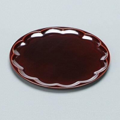 盛器 木製 7.6寸 丸菊皿 盛皿 溜 漆塗 越前漆器