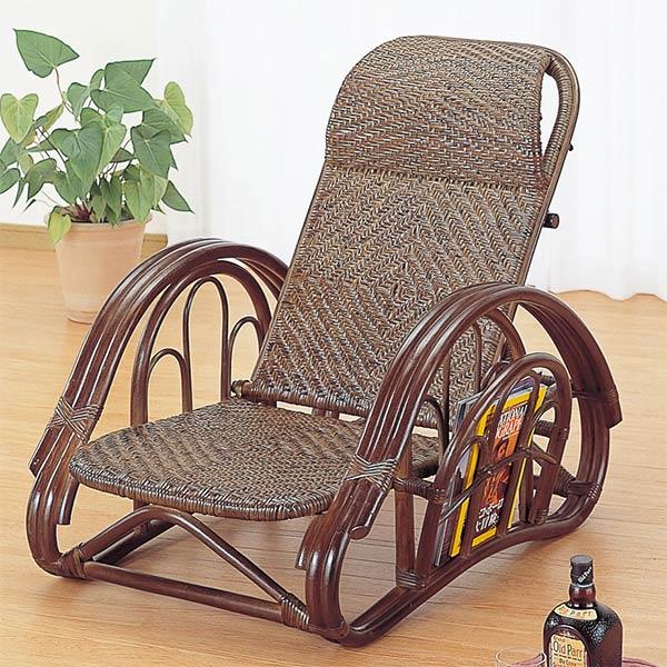 籐〔ラタン〕 リクライニング座椅子 ダークブラウンカラー 送料無料( イス チェア アジアン ) 【4500円以上送料無料】