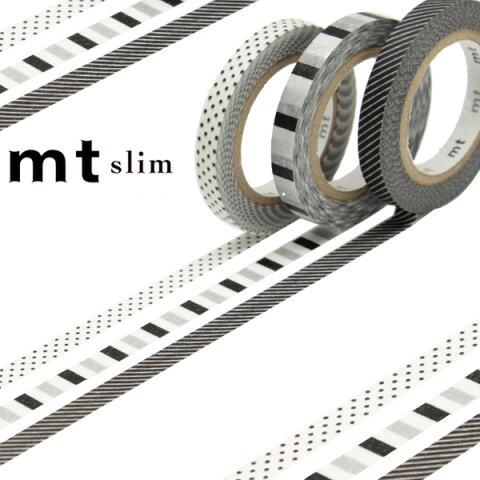 マスキングテープ mt slim deco F スリム 幅6mm ( カモ井加工紙 マステ 和紙テープ ラッピング デコレーション コラージュ ラッピングテープ スリム 細い モノトーン ボーダー ストライプ ドット 水玉 日本製 )【4500円以上送料無料】