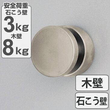 フック ボタンフック シルバー ピンタイプ 安全荷重3kg 石膏ボード 日本製 ( 石膏ボード用 木壁 ベニヤ壁 木 石こうボード 穴が目立たない 吊り下げ 収納 キーフック 鍵フック )【4500円以上送料無料】