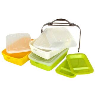 ピクニックランチボックスお弁当箱レジャーランチボックス3段取り皿付き