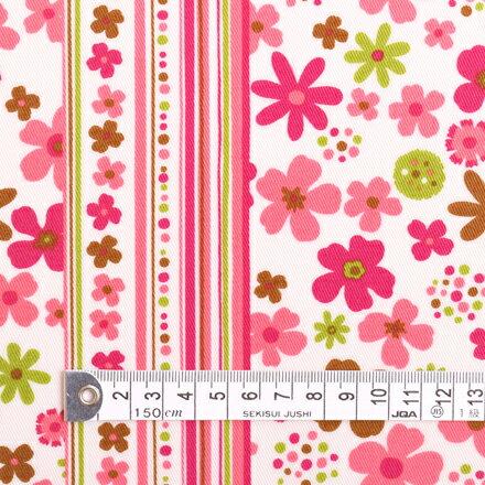 商用利用可 生地 ラミネート 生地 ピンク スカンジナビアのフラワーパーク(ピンク) ラミネート(厚み0.2mm)生地