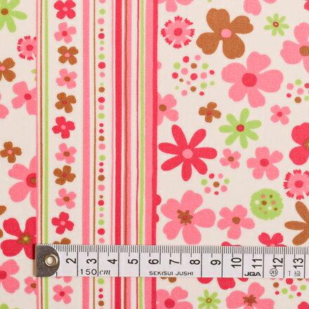 商用利用可 生地 ラミネート つや消し 生地 ピンク 女の子 スカンジナビアのフラワーパーク(ブロード地・ピンク) ラミネート(厚み0.08mm)生地