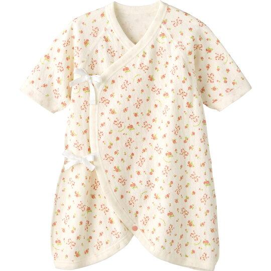6ef2d0d39f9def エアニットのお花プリントの新生児用のコンビ肌着。ベビーの肌を包むアンゴラ混素材は、ふわっとエアリーでとってもあったか。冬の体温調節に最適です。