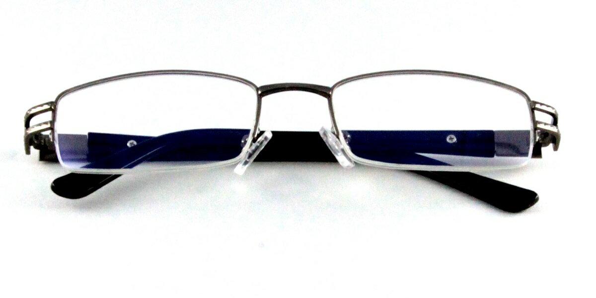 CB/PCブルーライトカットメガネ 眼鏡 度なしメガネ パソコン眼鏡 フレーム メガネ スクエア眼鏡 伊達メガネ 伊達めがね レディース メンズ/男女兼用 ユニセックス グレー UV ハーフリム 金属フレーム メタル クリアレンズ 度なし ケース付 オシャレ カジュアル シンプル