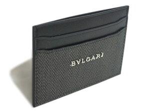 ブルガリカードケース32584シンプル名刺入れウィークエンドSVロゴコーティングキャンバスブラックxブラック