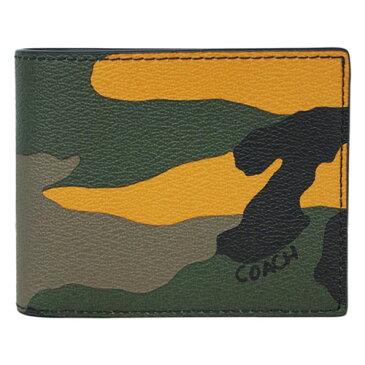 コーチ 財布 F32438-TAG COACH メンズ 二つ折り 小銭入れ付き 3-IN-1 ウォレット ウィズ カモ プリント タンジェリンマルチ アウトレット あす楽対応