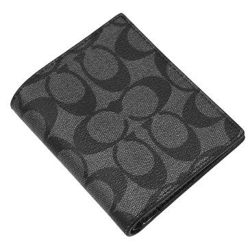 コーチ 財布 F11971-CQ/BK メンズ 二つ折り 小銭入れ付き スリム コイン ウォレット シグネチャー チャコール/ブラック アウトレット あす楽対応