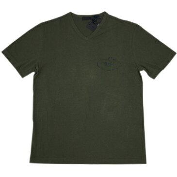プラダ Tシャツ UJM507 メンズ 半袖 Vネック コットン100% MILITARE ミリターレ ミリタリーグリーン Lサイズ アウトレット わけあり あす楽対応