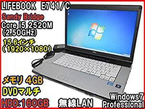 【中古】中古 ノートパソコン富士通 LIFEBOOK E741/C Core i5 2520M(2.5GHz) 15.6液晶(フルHD) メモリ4GB DVDマルチ 無線LAN Win7Pro