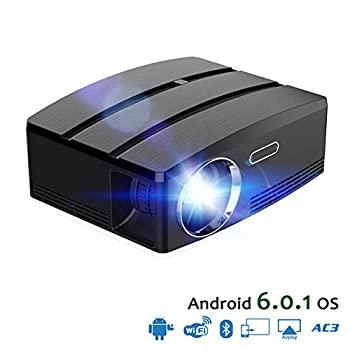 【中古】ミニビデオプロジェクター1080P HD、プロジェクターLED映画プロジェクターポータブル付きHDMI付きUSBアンドロイド6.1 OSホームシアター映画プロ