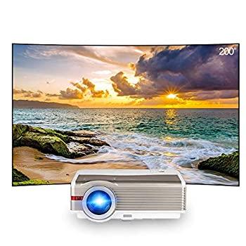 【中古】HDワイヤレスプロジェクタープロジェクターHDビデオホームシアター付きのBluetooth無線LAN HDMI入力の屋外ワイヤレスAndroidの作品プロジェクタ