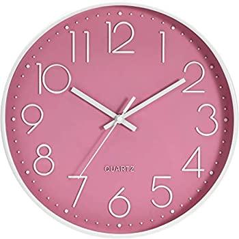 【新品】PGONE 掛け時計 おしゃれ 壁掛け時計 クオ?ツ 静音 ピンク 約30cm ホーム ベッドルーム キッチン プレゼント画像