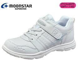 ムーンスターSSJ754スーパースタージュニアガールズヒモマジック女児ホワイトスニーカー通学履き白靴