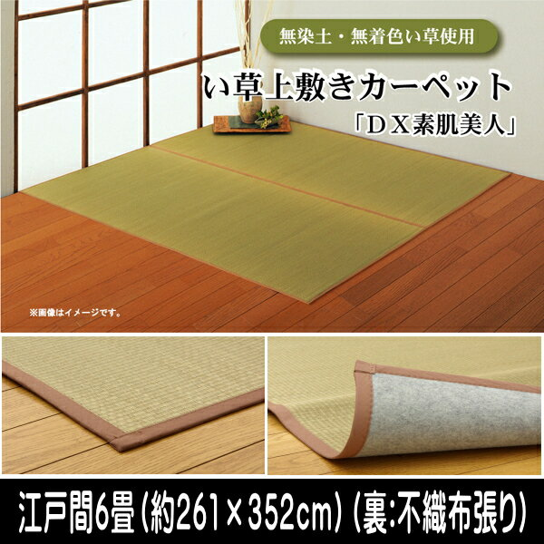 無染土 い草上敷 『Dx素肌美人』 江戸間6畳(約261×352cm)(裏:不織布張り)
